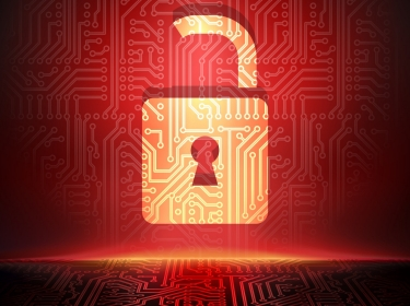open red cyber lock with circuitboard background