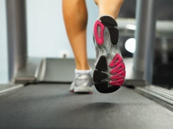 An individual running on a treadmill