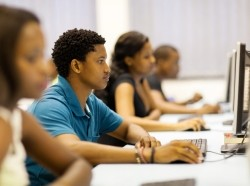 African American students using computers