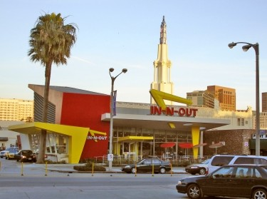 The famous In-N-Out Burger at the corner of Gayley and Le Conte in Westwood, Los Angeles near the UCLA campus, designed by Kanner Architects