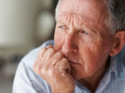 Close up of elderly man looking away