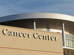 Cancer Center sign outside hospital