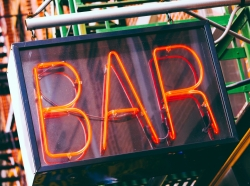Close up of neon bar sign