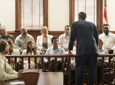 lawyer before jury during trial
