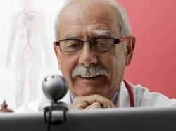 doctor on webcam