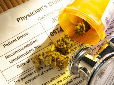 Medical marijuana and stethoscope