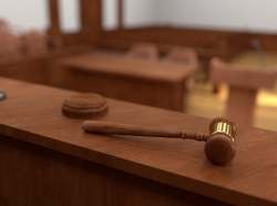 A gavel in a courtroom