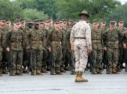 Parris Island, South Carolina, USA - September 23, 2014: Recruits undergo basic training at Marine Corps Recruit Depot Parris Island in South Carolina