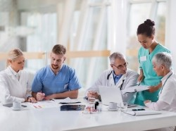 Group of medical experts working in the hospital