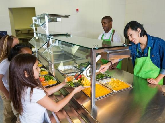 Children in line at school cafeteria