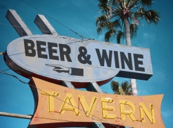 Vintage beer and wine tavern neon sign