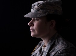 Profile view of female soldier