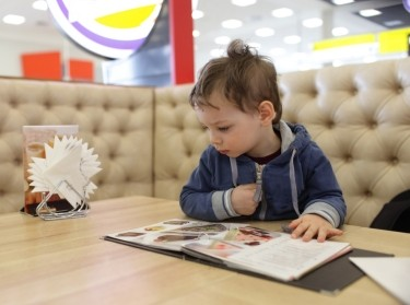 Kid with menu