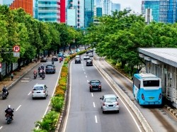 Traffic on a street lined with trees in Jakarta, Indonesia.