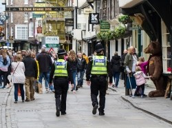 British police on patrol during an increase in security after terrorist threats to the UK, York, UK, July 4, 2017