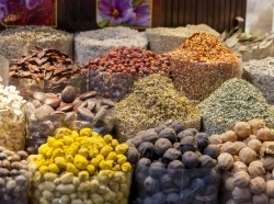 Dried herbs, flowers and spices at the spice souq in Dubai, UAE