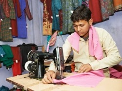 Tailor working in shop in Bangladesh