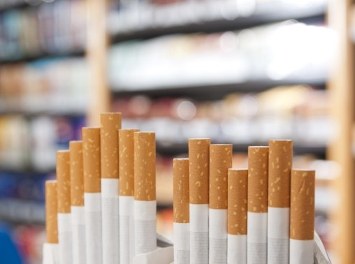 Cigarettes on display in a store