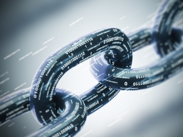 An illustration of chain links represented in binary code, photo by  denisismagilov / Adobe Stock
