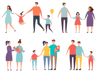 Illustration of traditional and nontraditional families, photo by ONYXprj/Adobe Stock