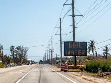 Boil water alert sign in Florida Keys after hurricane, photo by Jodi Jacobson/AdobeStock