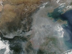 A satellite image of haze of eastern China