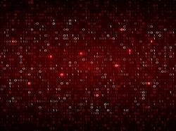 Tech binary code dark red background, photo by WhataWin/AdobeStock