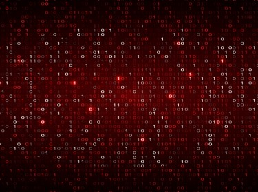 Tech binary code dark red background, photo by WhataWin/AdobeStock