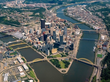 Aerial view of Pittsburgh, PA, photo by Tony Webster/Flickr, CC BY-SA 2.0