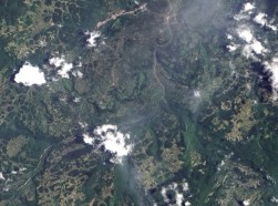 A 2009 satellite image of southern China depicting the aftermath of a landslide