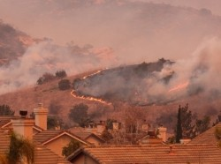 A spreading wildfire in the Anaheim hills, California