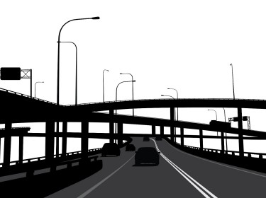 Highway in black and white