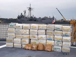 The U.S. Coast Guard Cutter Northland seized over 2,400 pounds of cocaine and four bales of marijuana off the coast of Colombia