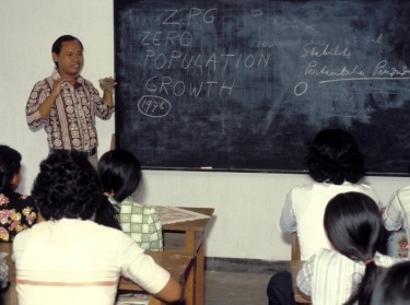 Teacher and students in Indonesia