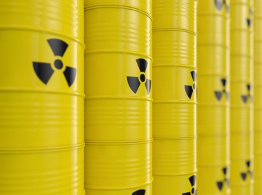 yellow barrels containing nuclear materials