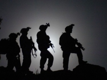 Soldiers on a nighttime patrol