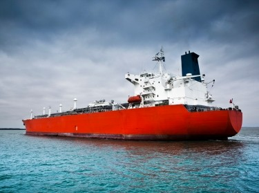 A large modern tanker ship at sea