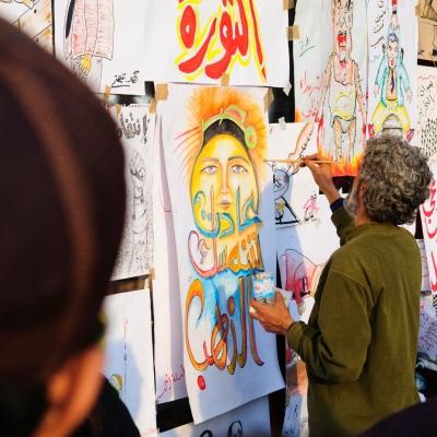 Politicized art in Egypt's Tahrir Square on February 9, 2011
