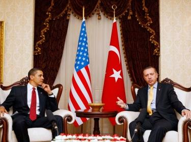 President Barack Obama meets Turkish Prime Minister Recep Tayyip Erdogan in Ankara, April 6, 2009