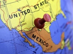 Map showing border between United States and Mexico