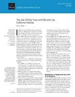 Cover: The Use of Early Care and Education by California Families