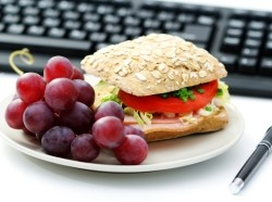 healthy meal and keyboard