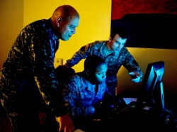 U.S. service members in a training exercise during Cyber Flag