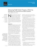 Cover: Measuring Health System Progress in Reducing Mortality from Noncommunicable Diseases
