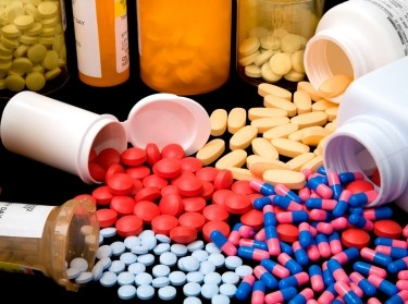 Piles of pharmaceutical medications