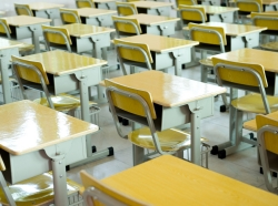 classroom, empty, chairs, desk, school, table, wood, wooden, room, board, interior, yellow, class, education, floor, furnishings, furniture, indoors, inside, knowledge, learn, lesson, nobody, object, seat, sitting, study, training, educational, schoolroom, seminar, university, work, in a line, row, horizontal