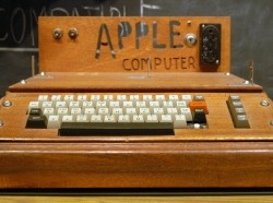 The Apple I, released by the Apple Computer Company (now Apple Inc.) in 1976, on display at the Smithsonian