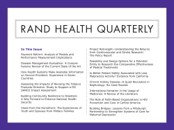 RAND Health Quarterly Inaugural Issue Excerpt