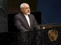 Iranian Foreign Minister Mohammad Javad Zarif during the 2015 Review Conference of the Parties to the Treaty on the Non-Proliferation of Nuclear Weapons at UN headquarters, April 27, 2015
