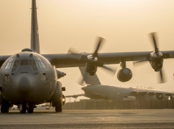 A C-130H Hercules landing in its new home in Southwest Asia in September 2014
